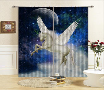 3D Stars Sky Flying Horse Curtains Drapes
