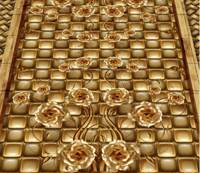 3D Metal Flowers Floor Mural Wallpaper AJ Wallpaper 2