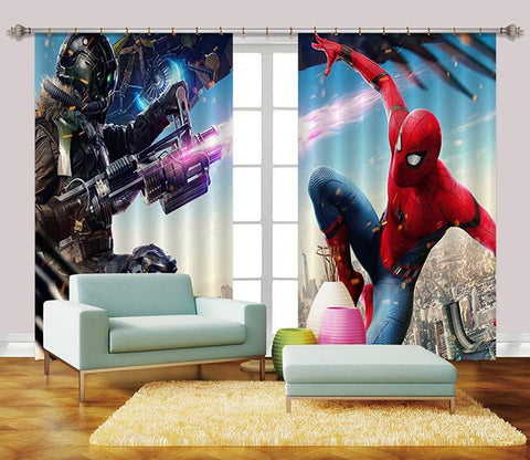 3D City Powerful Hero 2472 Curtains Drapes