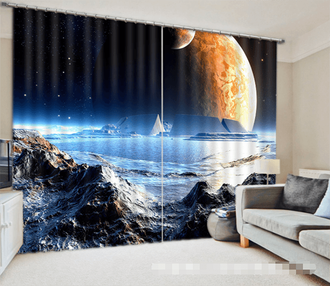 3D Space Planet Scenery 1339 Curtains Drapes Wallpaper AJ Wallpaper