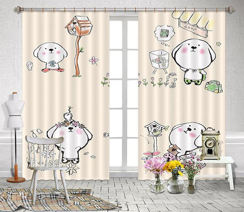 3D Cartoon Animals 2465 Curtains Drapes