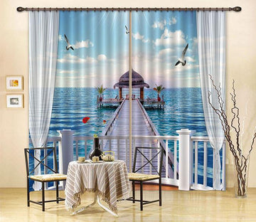 3D Balcony Sea Pavilion 44 Curtains Drapes Wallpaper AJ Wallpaper