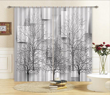 3D Bare Trees Parallelograms 458 Curtains Drapes Wallpaper AJ Wallpaper