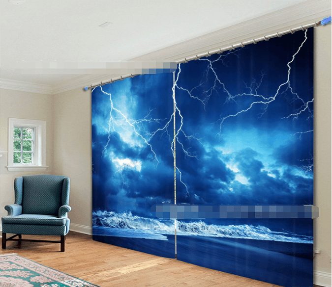3D Lightning Beach 2184 Curtains Drapes