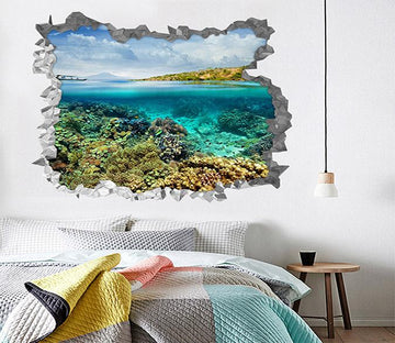 3D Blue Sea Corals 195 Broken Wall Murals