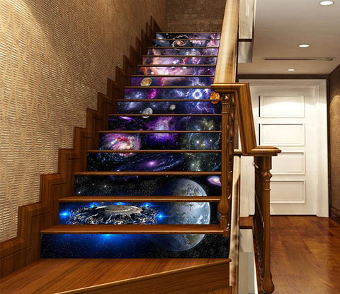 3D Beautiful Space Planets 1635 Stair Risers
