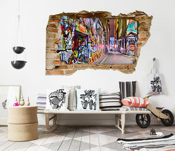 3D Pretty Graffiti Alley 089 Broken Wall Murals Wallpaper AJ Wallpaper