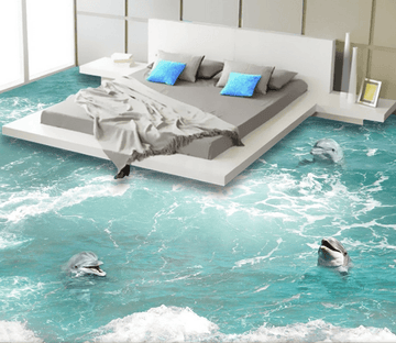 3D Cute Dolphins Floor Mural Wallpaper AJ Wallpaper 2