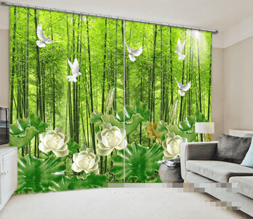 3D Bamboos Forest Birds Flowers 1001 Curtains Drapes Wallpaper AJ Wallpaper
