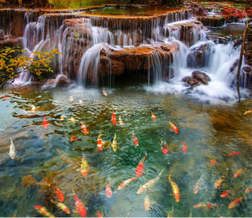 3D Waterfall Fish Pond Floor Mural Wallpaper AJ Wallpaper 2