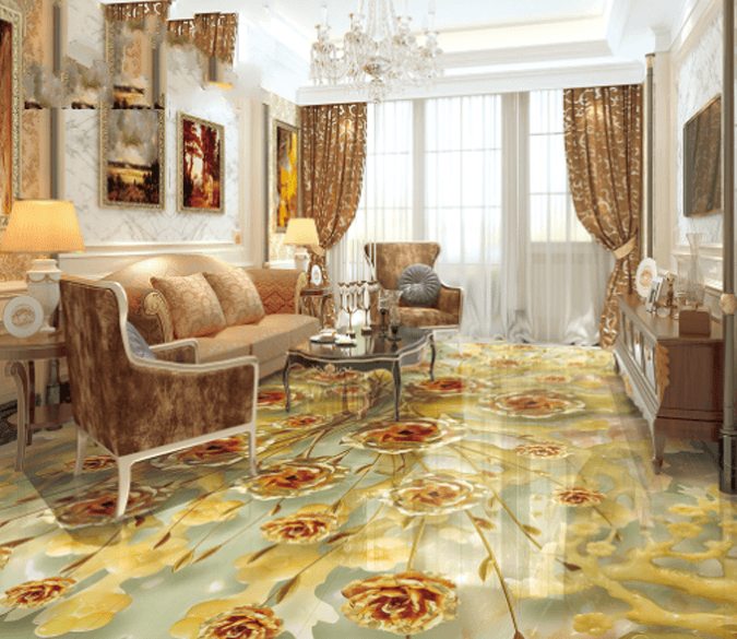 3D Metal Floral Floor Mural Wallpaper AJ Wallpaper 2