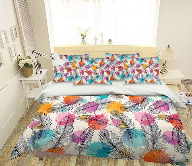 3D Feathers Colored Dots 190 Bed Pillowcases Quilt