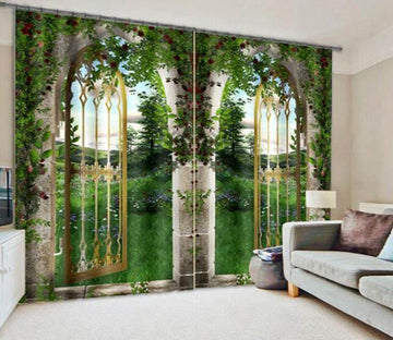 3D Arch Gate Scenery 896 Curtains Drapes Wallpaper AJ Wallpaper