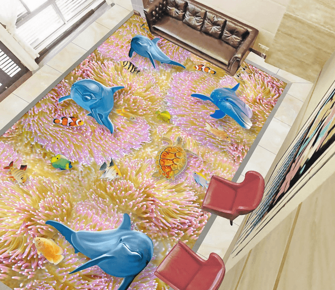 3D Colorful Corals Floor Mural Wallpaper AJ Wallpaper 2