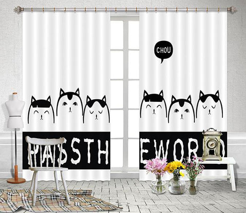 3D Cartoon Animals 2446 Curtains Drapes