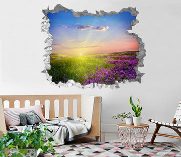 3D Mountain Flowers Sunset 237 Broken Wall Murals Wallpaper AJ Wallpaper