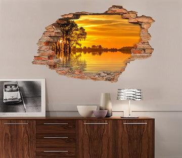 3D Lake Sunset Scenery 91 Broken Wall Murals Wallpaper AJ Wallpaper