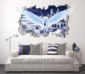 3D Sky Flying Unicorn 95 Broken Wall Murals Wallpaper AJ Wallpaper