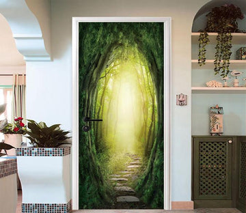 3D Forest Path Sunshine 93 Door Mural Wallpaper AJ Wallpaper