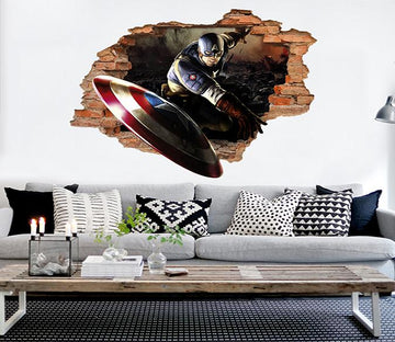 3D Captain America 99 Broken Wall Murals