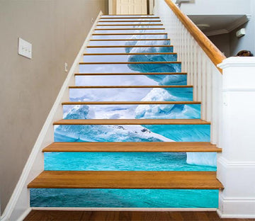 3D Blue Sea Icebergs 856 Stair Risers Wallpaper AJ Wallpaper