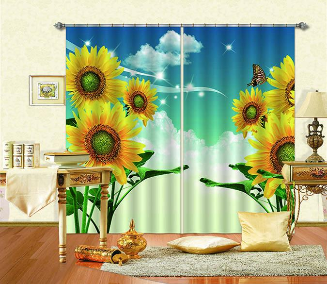 3D Blue Sky Sunflowers 824 Curtains Drapes