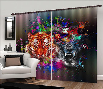 3D Colorful Tigers 2325 Curtains Drapes Wallpaper AJ Wallpaper
