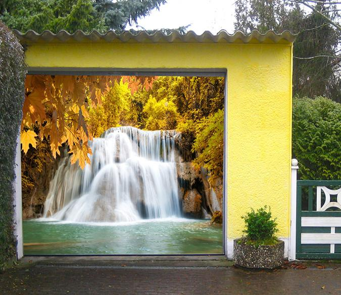 3D Waterfall Yellow Trees 125 Garage Door Mural