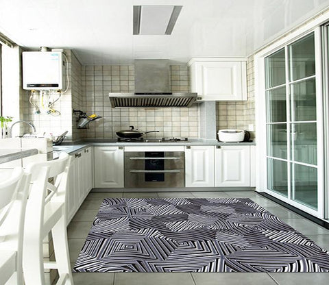 3D Metal Pattern Kitchen Mat Floor Mural
