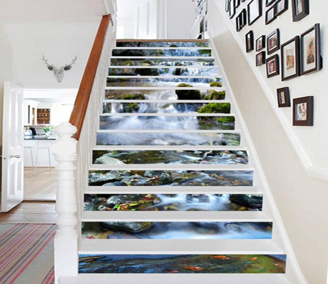 3D Beautiful River Scenery 553 Stair Risers