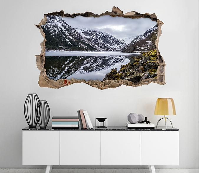 3D Calm Snow Lake 314 Broken Wall Murals