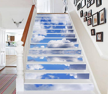3D Calm Sea White Clouds 1010 Stair Risers Wallpaper AJ Wallpaper