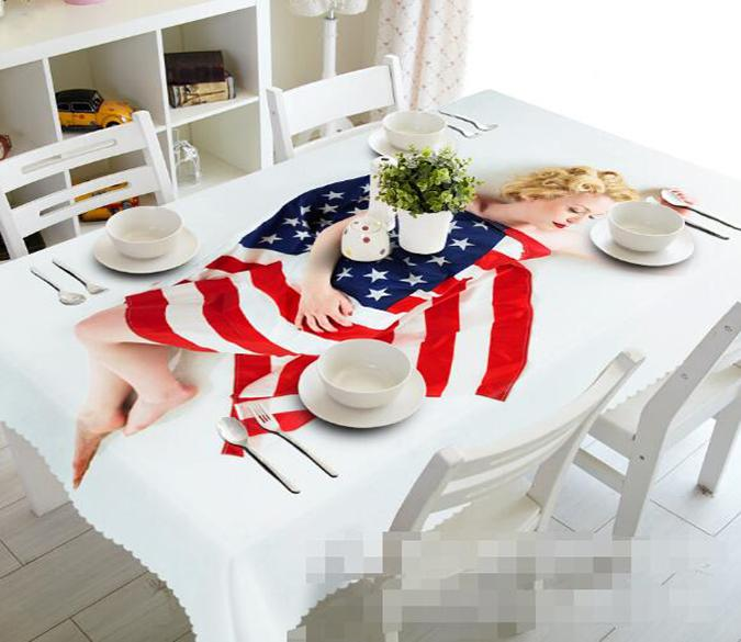 3D American Flag 993 Tablecloths
