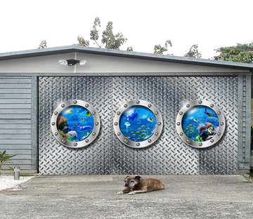 3D Metal Window Ocean World 01 Garage Door Mural