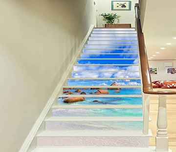 3D Blue Sea Stones 937 Stair Risers