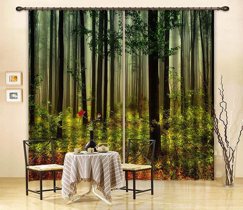 3D Misty Forest 2464 Curtains Drapes
