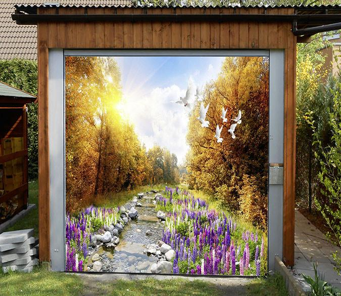 3D River Flowers Birds 56 Garage Door Mural