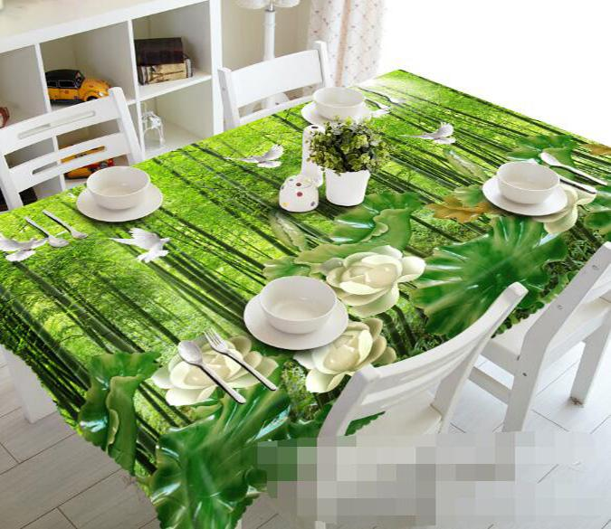 3D Bamboo Forest Birds Flowers 1040 Tablecloths