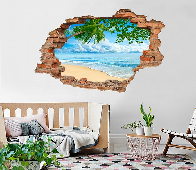 3D Blue Sea Scenery 207 Broken Wall Murals
