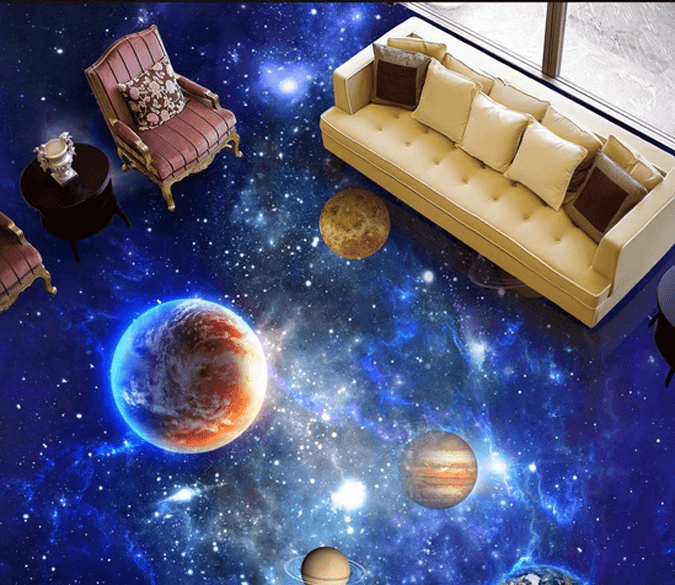 3D Dazzling Space Floor Mural Wallpaper AJ Wallpaper 2