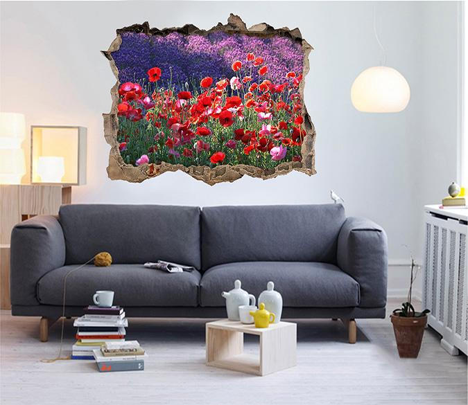 3D Bright Flowers 393 Broken Wall Murals Wallpaper AJ Wallpaper