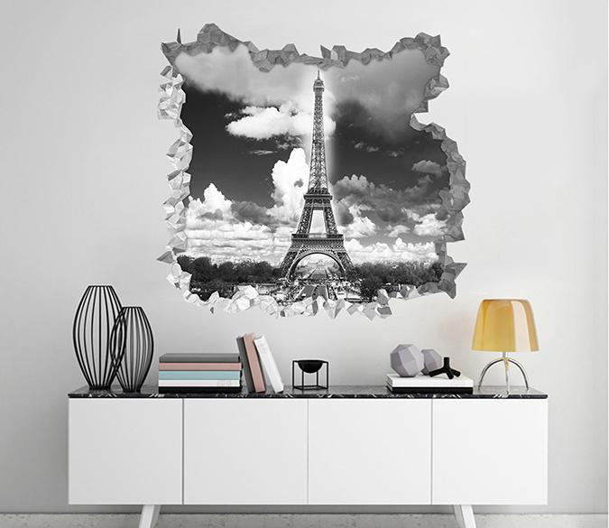3D Paris Eiffel Tower 239 Broken Wall Murals AJ Wallpaper