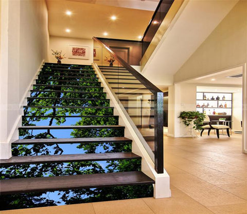 3D Tree Green Leaves 15 Stair Risers