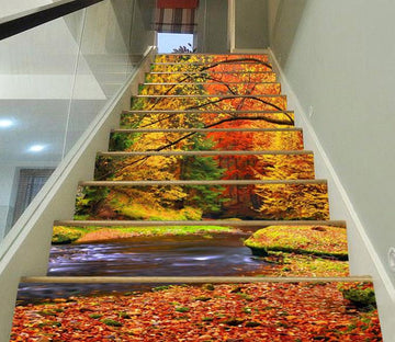 3D Riverside Color Trees 306 Stair Risers Wallpaper AJ Wallpaper