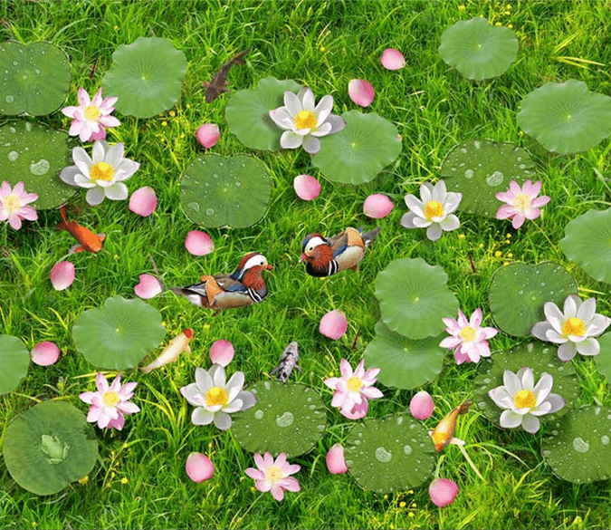 3D Grassland Lotus Floor Mural Wallpaper AJ Wallpaper 2