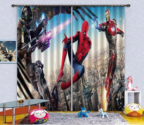 3D City Sky Heros 2468 Curtains Drapes