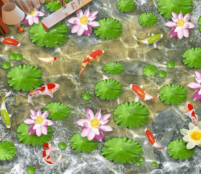 3D Clear Lotus Pond Floor Mural Wallpaper AJ Wallpaper 2