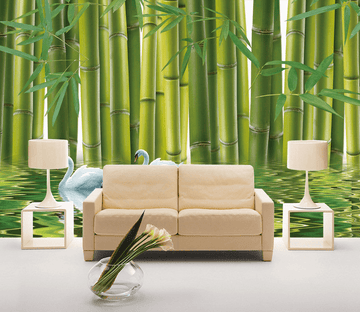 Bamboo Forest Swans Wallpaper AJ Wallpaper