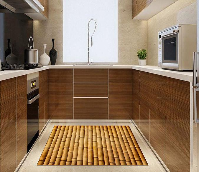 3D Bamboo Poles Kitchen Mat Floor Mural