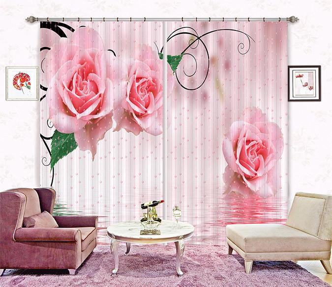 3D Bead Curtain And Roses 144 Curtains Drapes
